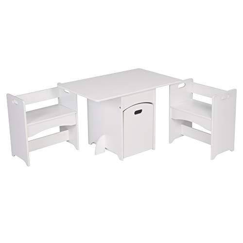 WOLTU SG007 Tavolo e Sedie per Bambini Tavolino con 2 Sgabelli e Contenitore Set Mobili in Legno