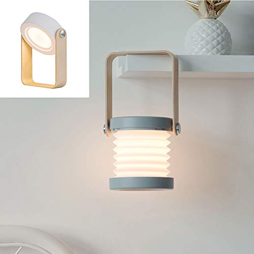 Konesky Pieghevole Lampada da Tavolo a LED, Lanterna a Sospensione Portatile Luce Notturna USB...