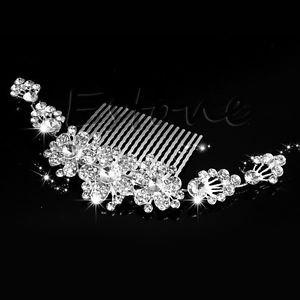 SLB Works Brand New Luxury Bridal Wedding Crystal Flower Rhinestone Hair Clip Comb Pin Headband