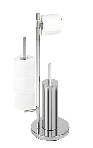 WENKO Stand WC-Garnitur Universalo Neo, Toilettenpapierhalter und WC-Bürstenhalter, Edelstahl rostfrei, 30 x 73 x 20 cm, Glänzend