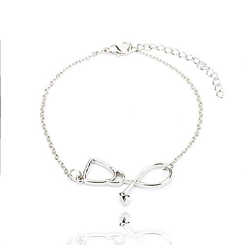 HITSAN INCORPORATION Fashion Simple Stethoscope Chain Bracelet Metal Medical Tool Shape Jewelry Gift for Nurse Doctor Medical Student Metal Color c