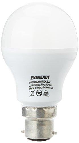 Eveready B22 Base 9-Watt LED Bulb (Pack of 4, Cool Day Light)