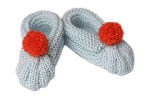 Scarpine da bambino in lana. Fatto a mano. Lana Merinos. Scarpette fatte a maglia. Pompom. Bambino. 0-6 mesi. Calzini. Baby booties. Handmade. Made in Italy