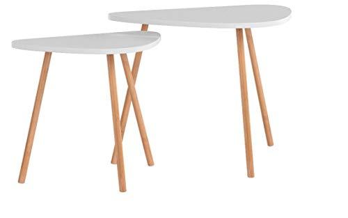 HOMFA Tavolino Divano di Caffè in MDF Bianco, Set di 2 Tavolini Bassi da Salotto in Legno di...