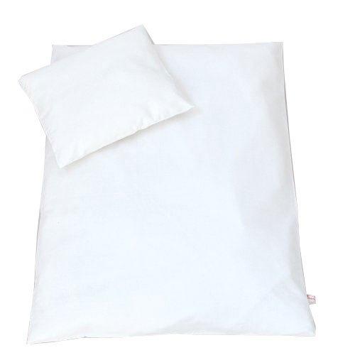 Set Bezug Fur Kinderwagen Garnitur Bettwasche Kissen Decke 60x78 Uni WEIss