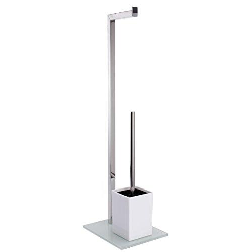 """MSV Bad Serie \""""SYDNEY\"""" Stand WC Garnitur aus Edelstahl und Glas mit herausnehmbaren Innenbehälter für die WC Bürste Weiß"""
