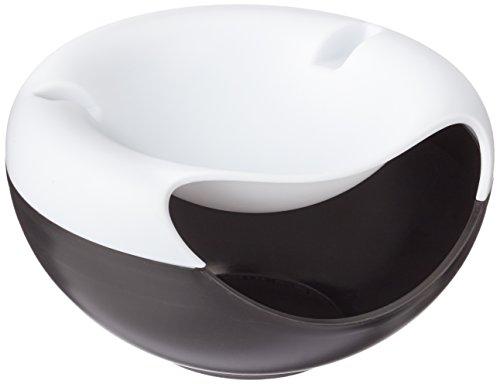 Rukauf - Cuenco blanco y negro para tentempiés, nueces, semillas y frutos secos con soporte para teléfono móvil