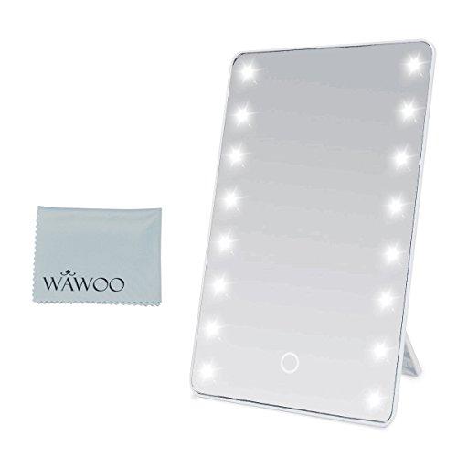 Wawoo Specchio per il trucco con illuminazione a LED Dimmerabile con Touch Screen + 16 LEDs + Ultra...