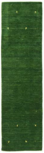 CarpetFine: Tappeto Gabbeh Uni Passatoia 75x240 cm Verde - Monocromatico