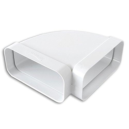 La Ventilazione CCO157B Curva Orizzontale in ABS per Tubo Rettangolare, Bianco, 150 x 70 mm