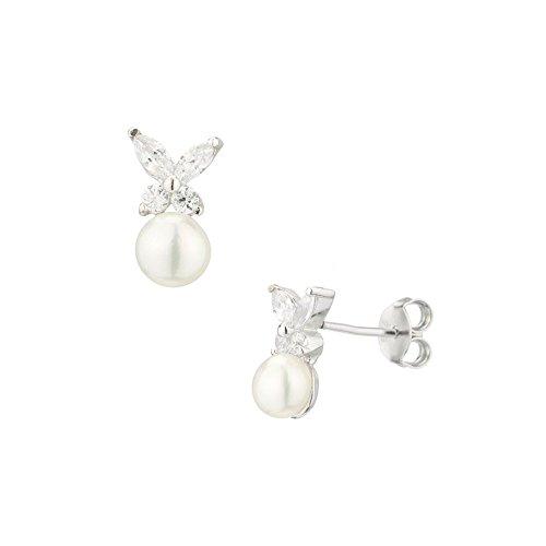 Pendientes mariposas perlas de cultura blanca y plata 925-Idea regalo