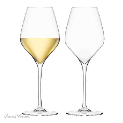 Final Touch, Calici da vino bianco in cristallo, 100% senza piombo, in DuraShield rinforzato in...