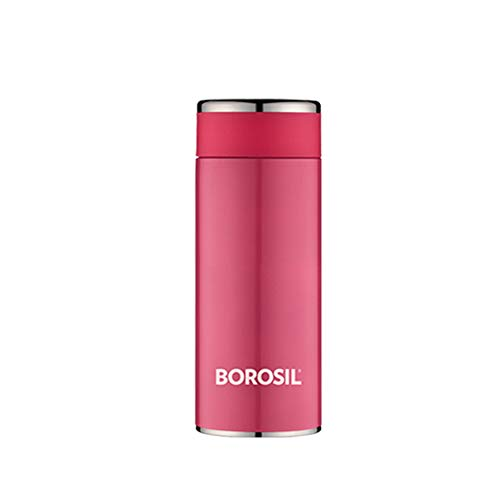 Borosil Stainless Steel Hydra Travelsmart - Vacuum Insulated Flask Water Bottle, 200 ML, Pink