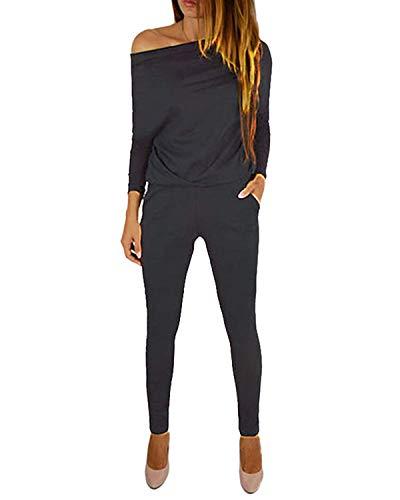 YOINS Jumpsuit Damen Elegant Sommer Overall Off Shoulder Strand Romper Lang Einfarbig