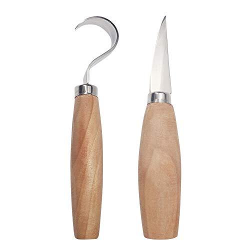 Carre Mark 2Piezas/Juego de Madera Schneider Curved Cutter Carving Suministros Cuchara Carving Cutter Set Cuchillas de Acero Inoxidable Woodcarving Cutter