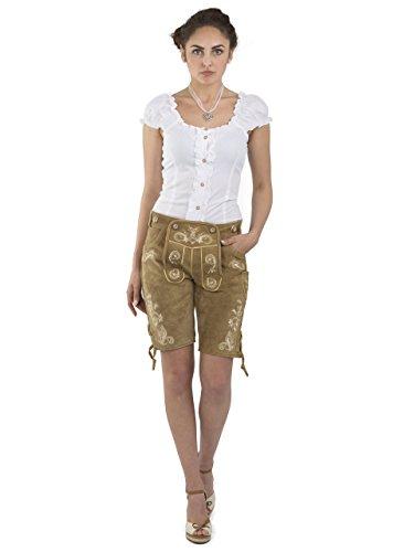 Damen Wiesnzauber Trachtenlederhose - mittellange Trachten Lederhosen - Lederhose Alternative zum Dirndl - sexy Hose Trachtenhose (34, Hellbraun) - 3