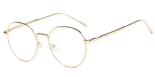DAUCO Unisex Silber Und Schwarz Beatles Retro Sixties Style Runde Metall Brillen Damen Herren Klare Linse