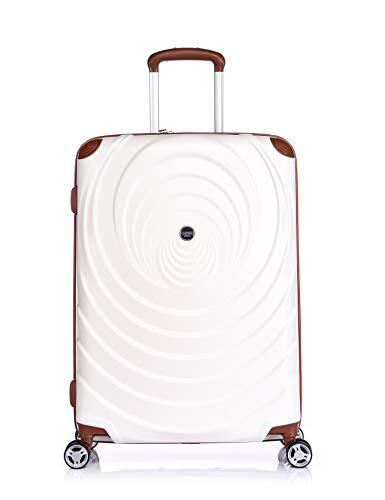 Verage Spiral ABS Hartschale Trolley 3er Set-S-M-L (Beige), 4x360 Grad Doppelrolle Reisekoffer, TSA integriert, erweiterbar
