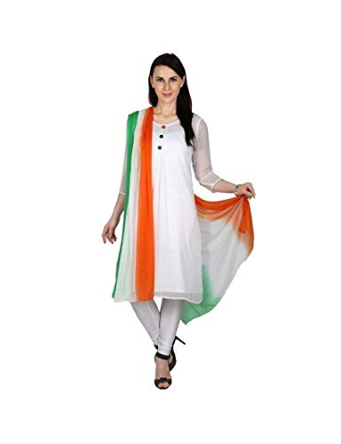 Sanchya Women's Chiffon Ombre Pattern Dupatta for Independence Day (TDCF001, Multicolour, Free Size)