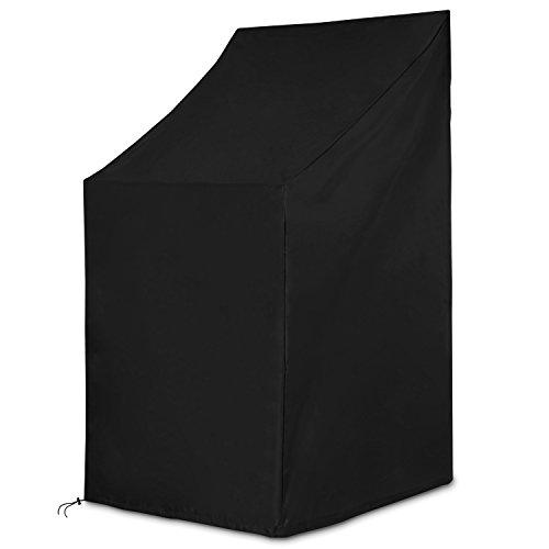 Dokon Schutzhülle für Gartenstühle Wasserdichtes Atmungsaktives Oxford-Gewebe Stapelstühle/Gartenstuhl Abdeckung(65x65x80/120cm) - Schwarz