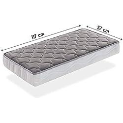 SLEEPAA Colchón para cuna de 120x60 cm FIBRA DE COCO natural y MUELLES Transpirable Antiácaros Hipoalergénico Tejido exterior suave Altura 15 cm Fabricado en España