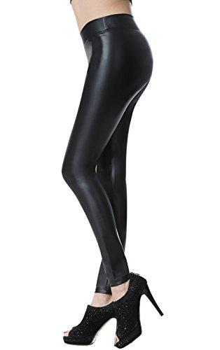 Everbellus Leggins Cuero Pantalón Elastico Negro para Mujer Negro Grande