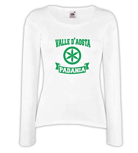Settantallora - T-Shirt Maglietta Manica Lunga Donna J3293 Valle d'Aosta Regione della Padania Taglia XL