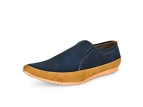 Esense Black Money Men's Blue And Beige Slip On Shoe (9)