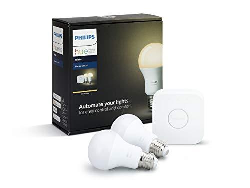 31PcQwxEXNL [Bon Plan Netatmo] Philips Hue Kit de Démarrage Blanc avec 2xE27 9W [pont inclus] - Fonctionne avec Alexa