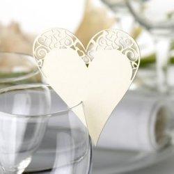 floristikvergleich.de Tischkarten / Namenskärtchen cremefarbenes Herz im Vintage Style zum Befestigen am Glas -Inhalt pro Packung 10 Stück