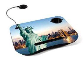 Junior Star Srl Cuscino Supporto per Notepad o Piccolo PC Portatile con Lampada Integrata, Porta Bicchiere MOD.New York