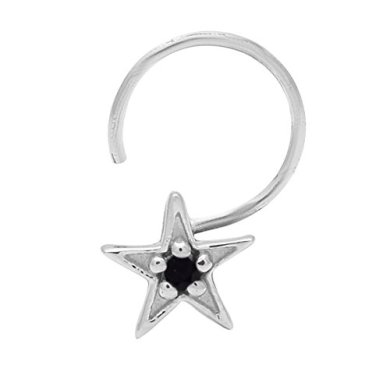 925 Sterling Silver Star Shape Cubic Zirconia Nose Pin For Girl's (Black) 20