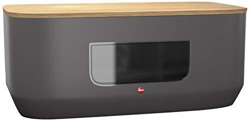 Hailo KitchenLine Design Brotkasten, Korpus aus Stahlblech mit Sichtfenster, Deckel aus Holz als Schneidebrett verwendbar, lebensmittelecht, 0833-930