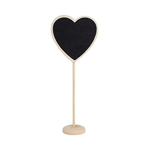 Yosoo Mini Lavagna Nera 5pezzi Memo lavagna nera a forma di cuore per lettrage in legno con...