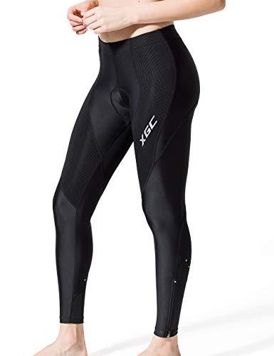 XGC Damen Lange Radlerhose Fahrradhose Radhose Radsportshorts für Frauen Elastische Atmungsaktive 4D Schwamm Sitzpolster mit Einer Hohen Dichte (Black, L)