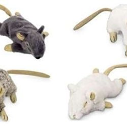 katzeninfo24.de Spielzeugset für Katzen 4 große Plüschmäuse mit Catnip Katzenminze Katzenspielzeug