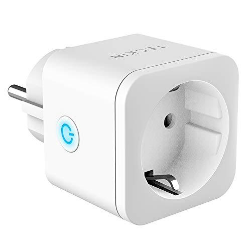 Presa Intelligente WiFi Smart Mini Plug Spina Compatibile con Google Home/Amazon Alexa/IFTTT,TECKIN Controllo Remoto Funzione di Temporizzazione Presa Wireless per iOS Android App