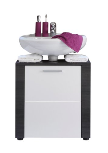 trendteam 131230110 Waschbecken-Unterschrank Xpress mit Korpus und Frontblenden in Esche grau Nachbildung und Front in weiß Nachbildung, 60 x 62 x 35 cm