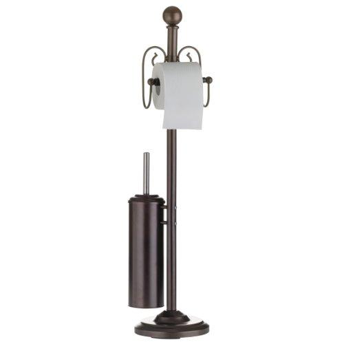 axentia WC-Garnitur Nostalgie, Metall pulverbeschichtet, rostfarben, WC-Papierrollenhalter, WC-Bürstenhalter und WC-Bürste, Maße: ca. 19 x 19 x 82 cm