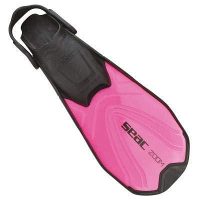Seac Zoom, Pinne da Snorkeling con Cinghiolo Regolabile in 6 Posizioni per Adulti e Ragazzi Unisex, Rosa, 32-35