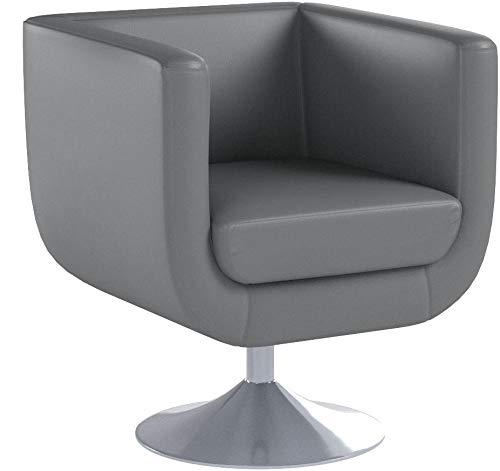 CLP Poltrona Lounge Colorado V2 in Similpelle - Poltrona Girevole 360° Imbottita con Braccioli - Sedia Lounge Relax Bar Poltroncina con Schienale Grigio