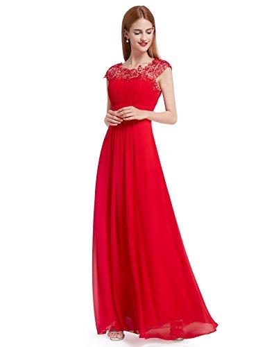Ever-Pretty Vestito da Festa Donna Damigella d'Onore Lungo Rosso 54