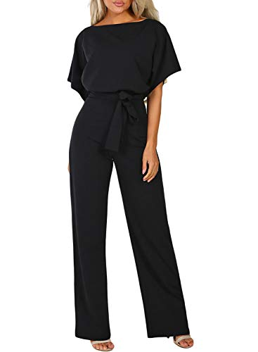Happy Sailed Damen Kurzarm O-Ausschnitt Elegant Lang Jumpsuit Overall Hosenanzug Playsuit Romper S-XL, schwarz, Medium (EU40-EU42)