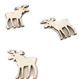 12 decorazioni da tavola renne di legno Taglia Unica