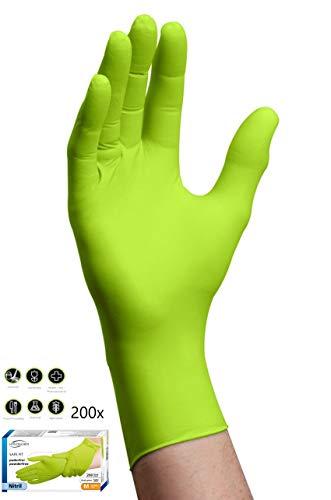 200x Guanti Monouso - Verde Safe Fit Compito Facile Guanti in nitrile XL (9-10) Senza Polvere Senza...