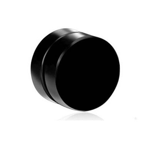 GemRoute 8 MM Black Round Barbell Magnetic (Non Piercing) Stud Earring for Men - Single Ear