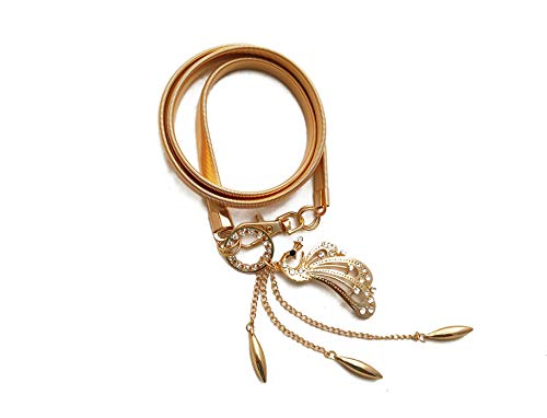 Vritraz Women And Girl Fashion Metal Stretchable Gold Plated Belly Chain Waist Belt Jewellery kamarband Waistband Peacock