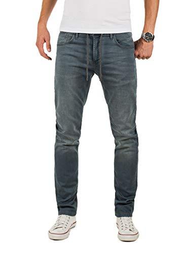 Yazubi Herren Sweathose in Jeansoptik Erik - Jogg Jeans Herren - graue...