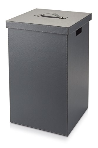 Möve''Cube Wäschekorb, Kunstleder, Grau, 37 x 37 x 59 cm