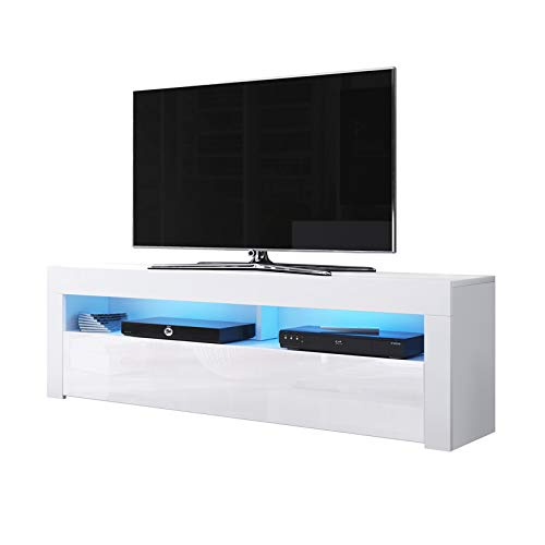 Alan - Mobile porta TV/Supporto TV/Mobile TV audio e video (160 cm, bianco opaco/pannelli frontali...